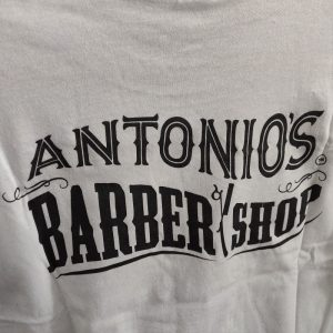 Antonio's Barbershop Plain White T-shirt with Logo on the Back and Sleeve